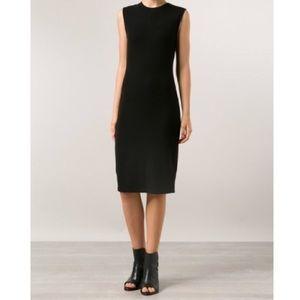 Vince rib knit black midi pencil dress